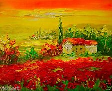 "High Quality Oil Painting on Stretched Canvas 8""x10""- Sunrise on Poppy Field"