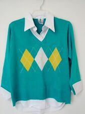 $43 Bill Blass Jeanswear women L Knit Shirt Top 2in1 layer look blue white LS