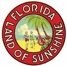 Florida-Land of Sunshine-Vintage 50's-StyleTravel Decal