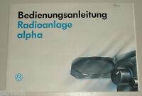 Manual de Instrucciones VW Radio Alpha