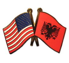 Albania Friendship with USA Flag Lapel Badge Pin