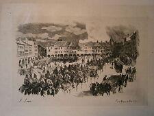 Gravure 19° Guerre 1870 Pont a Mousson  A. Lançon Place Duroc casque à pointe