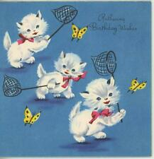 VINTAGE WHITE GRAY FLUFFY CATS KITTENS BUTTERFLIES NETS PLAYING CARD ART PRINT