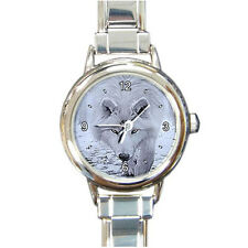 NEW Animal Snow Wolf for WOMAN Round Italian Charm WATCH FREE shipping