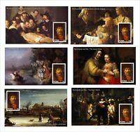 2010 REMBRANDT PAINTINGS ART 21 SOUVENIR SHEETS MNH UNPERFORATED