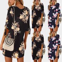 Women Summer Boho Short Mini Maxi Evening Party Beach Dress Floral Sundress S-XL