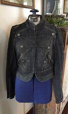 Woman's Blue Star Denim Jean Jacket By Jordache SZ L Peplum Biker Patches EUC