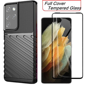 Tempered Glass Screen Protector + Case For Samsung S21 Plus Ultra 5G Armor Cover
