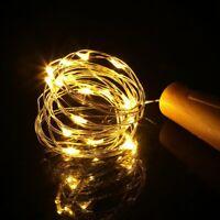 20LED Solar Wine Bottle Lights Copper Wire Cork Fairy String Light Party 2m
