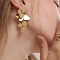 Fashion Geometric Gold Leafs Drop Stud Earrings Women Statement Jewelry Gift MW
