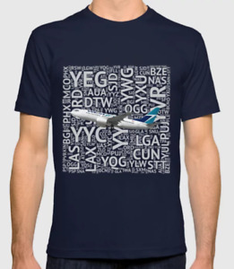 WestJet Airlines 737 with Airport Codes - T-Shirt