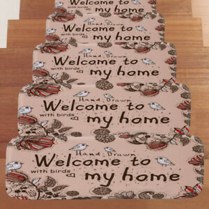 5Pcs Non-slip Carpet Stair Mats Staircase Step Rug Protection Cover Home