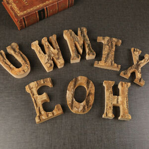 Wooden Letters Numbers Thick Craft Wall Signs Home Bark Interior Design Ornament