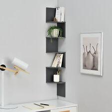 [en.casa] Étagère murale suspendre étagère coin étagère des livres Zigzag gris
