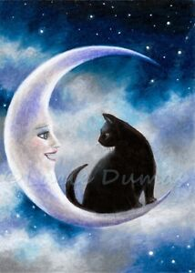 ACEO art print from art painting black Cat 580 crescent moon fantasy by L.Dumas