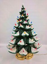 "ATLANTIC MOLD 24"" 4-Piece Ceramic Christmas Tree Snow Color Lights GOLDEN BASE!"