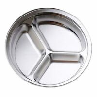 Stainless Steel 3 Sections Round Divided Dish Snack Dinner Plate Diameter K1F2