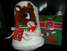Rudolph The Red Nosed Reindeer Blanket (Ivory)& One Bodysuit(Green) 3Months New