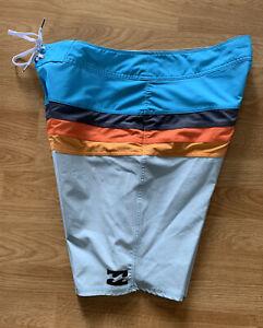 Baby Sky Blue Billabong Platinum X Momentum Stretch Hawaiian Surf Board Shorts