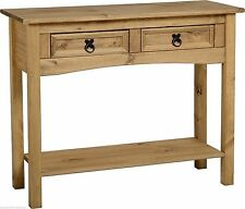 Corona Console Table with Shelf and 2 Drawers - Waxed Mexican Pine