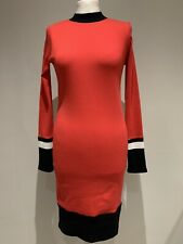 Long Sleeve Bodycon Jumper Dress Size 8Red Ribbed Next