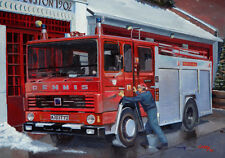 Dennis London Cuerpo de Bomberos Bomberos Fireman Euston Navidad Navidad Tarjeta