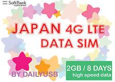 JAPAN DATA SIM UNLIMITED DATA 4G LTE 2GB 8 DAYS PREPAID SIM BY SOFTBANK AIS