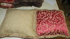 Pair of Persimmon Beige Print Decorative Throw Pillows 18 x 18