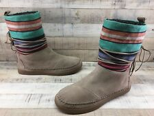 Toms Nepal Tan Suede Striped Fabric Faux Fur Lined Rubber Sole Boots Women's 7