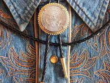 New handcrafted bolo tie usa AMERICAN HALF dollar coin cordon cuir western