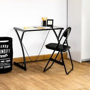 Small Computer Desk Modern Glass Black Furniture Office Writing Study PC Table