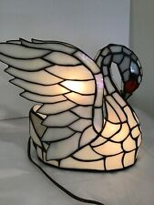 Tiffany Style Swan Light/ Nightlight , Approximate 11 Inch By 11 Inch