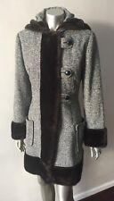 Tweed Faux Mink Fur Vintage Hooded Mod Gogo Wool Midi Jacket Coat Size Medium