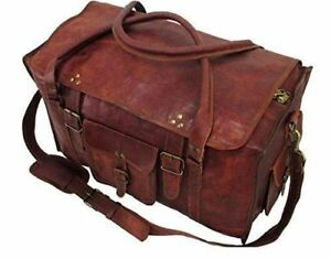 Men Large Brown Vintage Leather Weekend Gym Travel Luggage Duffel Bag Handmade