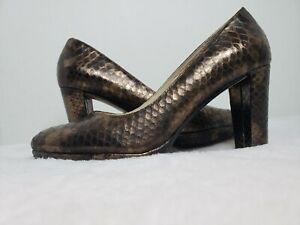 Clarks narrative collection Kendra Sienna bronze snakeskin leather heels Size 8
