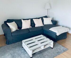 ikea EKTORP 3er sofa Couch mit Récamiere, Hallarp grau