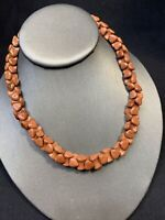 Vintage amazing Sunstone sandstone Double Heart Shaped Beaded  necklace 16""