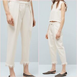 SALE White Straight Relaxed Crop Frayed Hem Trousers Jeans Size 12 US 8 Blogger❤