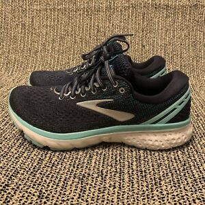 Brooks Ghost 11 Navy Blue/Green Womens Athletic Running Shoes Size 8