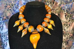 Bold Statement Tribal Necklace OOAK Huge Resin Brass Nepalese Beads JEIQUE