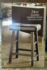 New Padded Saddle Kitchen & Bar Stool Walnut Finish and Brown Synthetic Leather
