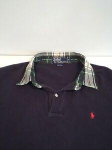Vintage Ralph Lauren Men's Rugby Shirt Sz XL Waffle Knit Contrast Flannel Collar