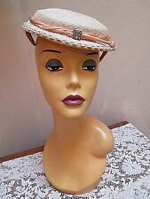ADORABLE VINTAGE TILT CLAMP Dress Hat DELICATE ECRU FLORAL LACE+ RHINESTONE PIN