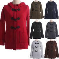 Plus Size Womens Winter Button Hoodies Coat Jacket Hooded Overcoat Tops Outwear