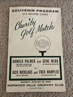 Jack Nicklaus signed autographed program scorecard 1962 Golf Match Norwood Hills