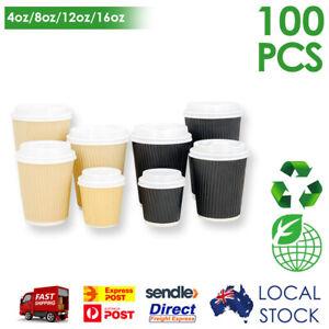 Takeaway Triple Wall Paper Coffee Cups Disposable with Lids 4oz/8oz/12oz/16oz