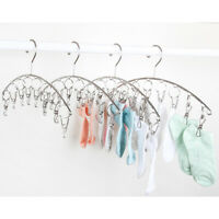 4x Clothes Dryer 10 Peg Stainless Steel Sock Underwear Clothes Laundry Hanger