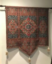 "Floral Tapestry Wall Hanging - Teal / Red / Blue  53"" x 65"" includes Tassels"