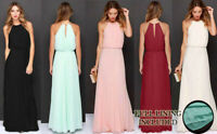 Long Chiffon Maxi Dress For Ladies Summer Evening Party Boho Gown Bridesmaid UK
