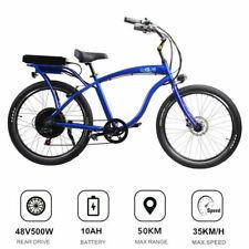 BLUE - 48V 500W Cruiser Style Electric bike Motorised Ebike 10AH LG Lithium Cell